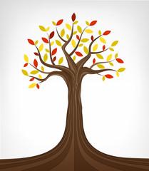 colorful autumn ash tree conceptual art isolated