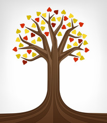 colorful autumn linden tree conceptual art isolated