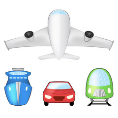 vehicle color set vector object on white