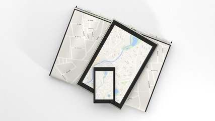 Tablets with map on screen and paper map isolated