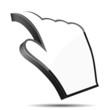 3D Curled Cursor Hand Pointer, Vector Illustration.