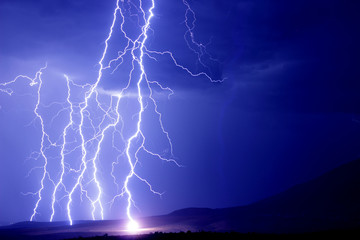 Lightning strikes the earth
