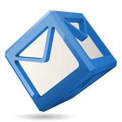 3D Cube with Mail Icon, Vector Illustration.