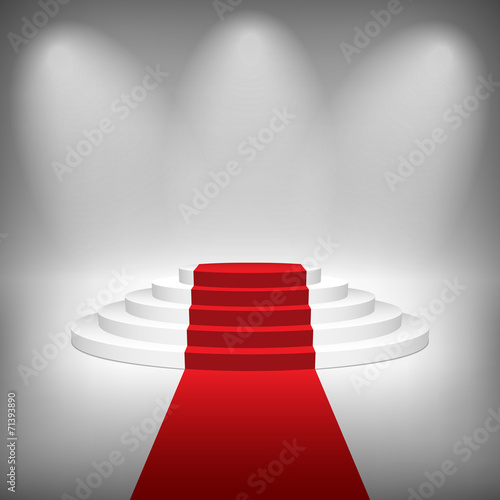 Staircase with Red Carpet, Vector Illustration. - 71393890