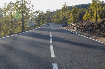 Road on Cloudy Day in El Teide National Park