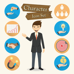 Businessman character Icon set vector