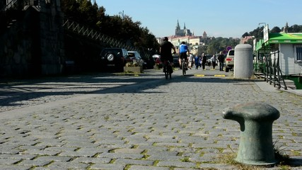boats on the river in quay (Vltava)  - city (Prague Castle)