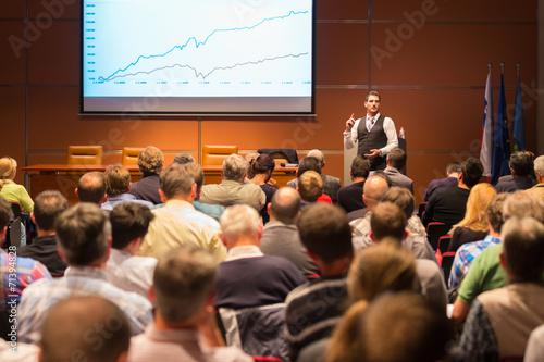 Leinwanddruck Bild Speaker at Business Conference and Presentation.