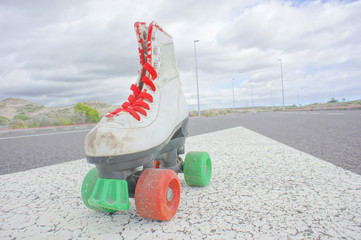 Old Vintage White Skate Boot
