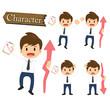 Businessman character present growing and present descending set
