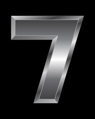 rectangular beveled metal font - number 7