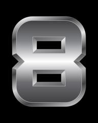 rectangular beveled metal font - number 8