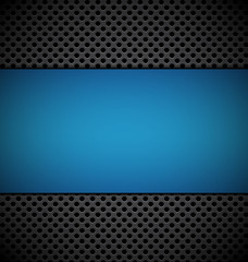 blank blue plate for design on brown grill texture background ve