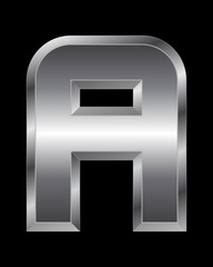 rectangular beveled metal font - letter A
