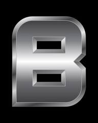 rectangular beveled metal font - letter B