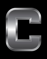 rectangular beveled metal font - letter C