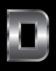 rectangular beveled metal font - letter D
