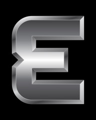 rectangular beveled metal font - letter E