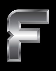 rectangular beveled metal font - letter F