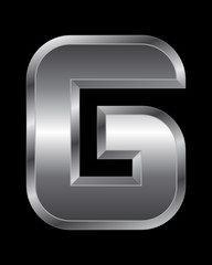 rectangular beveled metal font - letter G