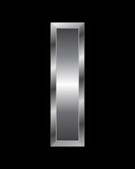 rectangular beveled metal font - letter I