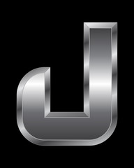 rectangular beveled metal font - letter J