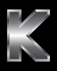 rectangular beveled metal font - letter K