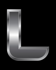 rectangular beveled metal font - letter L
