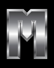 rectangular beveled metal font - letter M