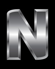 rectangular beveled metal font - letter N