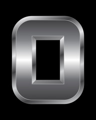 rectangular beveled metal font - letter O