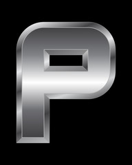 rectangular beveled metal font - letter P