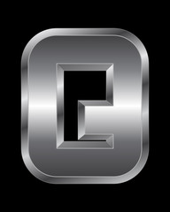 rectangular beveled metal font - letter Q
