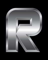 rectangular beveled metal font - letter R