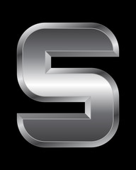 rectangular beveled metal font - letter S