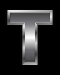 rectangular beveled metal font - letter T