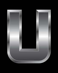 rectangular beveled metal font - letter U