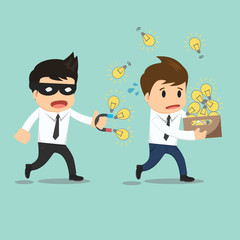 Businessman run thief use magnet stealing idea vector illustrati