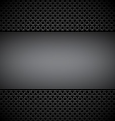 blank gray plate for design on gray grill texture background vec