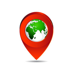 Map pin pointer icon  earth Europe zone