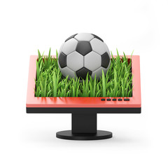 3d illustration: Monitor with a soccer ball on a white backgroun