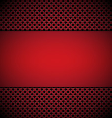 blank red plate for design on red grill texture background vecto