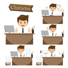 Businessman character on office set vector