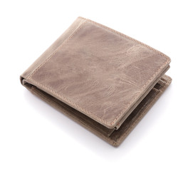 Mens leather wallet on a white background