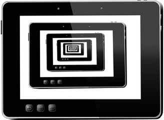 black tablets in black tablets isolated