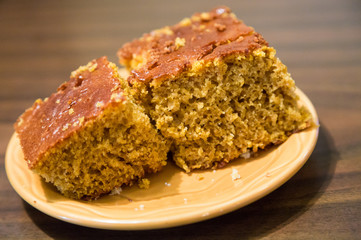 Pieces of Pumpkin Bread on Plate