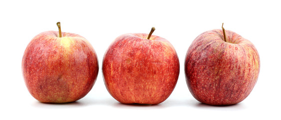 red apples over white background.