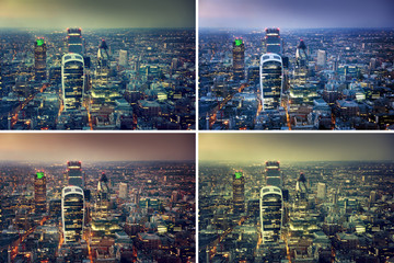 Sunset in city of London, set from colors variation
