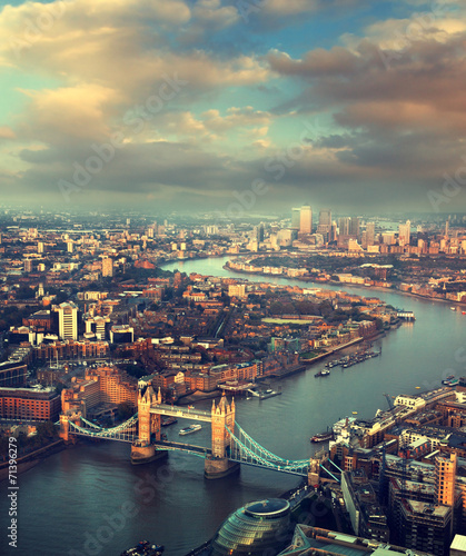 Fotobehang Londen London aerial view with Tower Bridge in sunset time