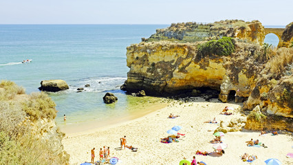 Tourism at the southcoast near Lagos in the Algarve Portugal